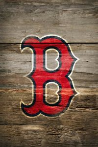 Red Sox logo on wood