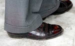 The Boston Cracked Shoe Look, worn with pride.