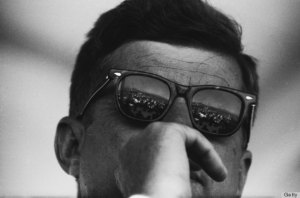 CIRCA 1960s:  President John F. Kennedy looks thoughtful behind his sunglasses circa the early 1960s.  (Photo by Michael Ochs Archives/Getty Images)