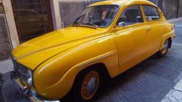 A vintage Saab sedan, seriously restored.